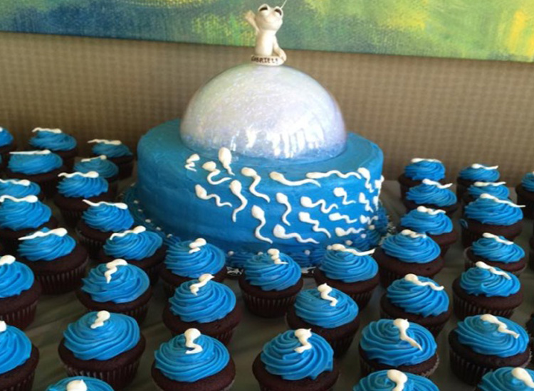 Funny baby shower cupcakes and cake