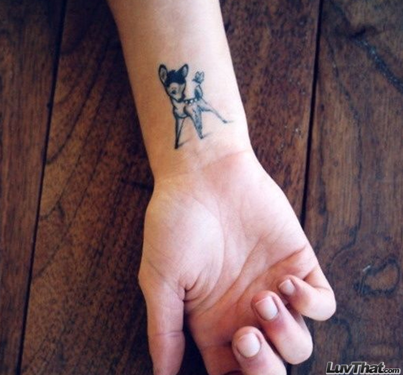 bambi baby deer wrist tattoo cute