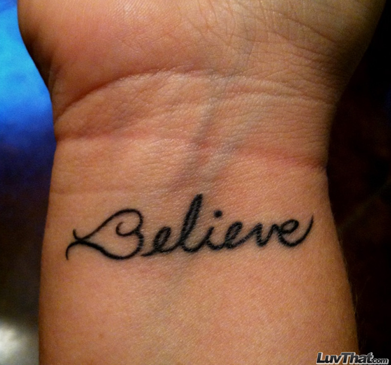 believe heart wrist tattoo