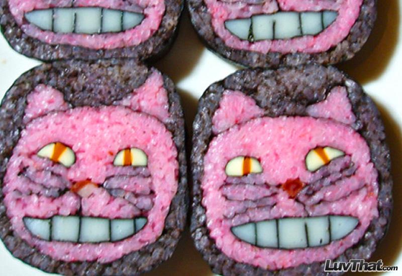 cheshire cat alice in wonderland sushi art