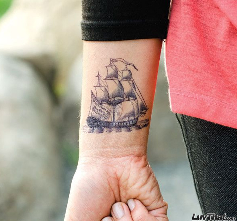 clipper ship wrist tattoo