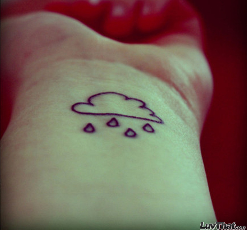 cloud and rain drops wrist tattoo
