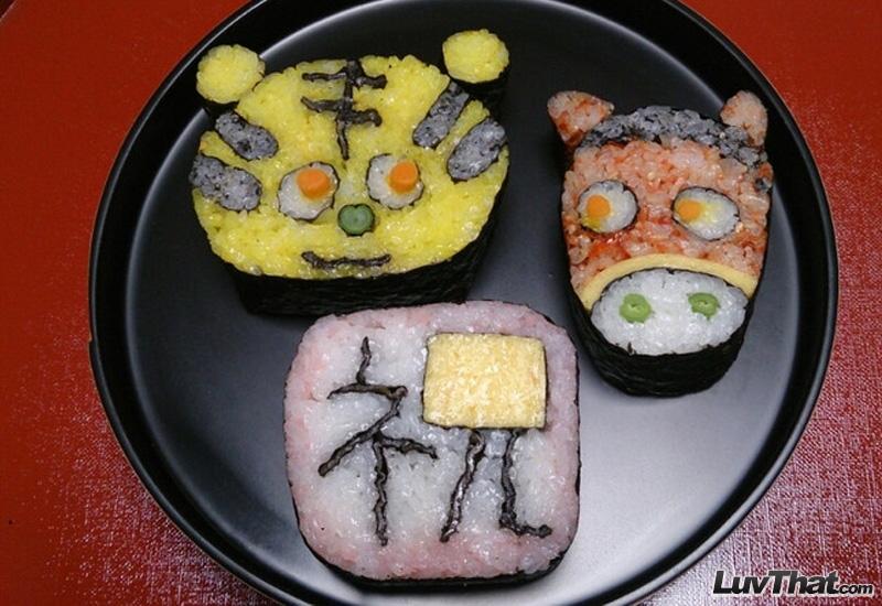 cute animals sushi art