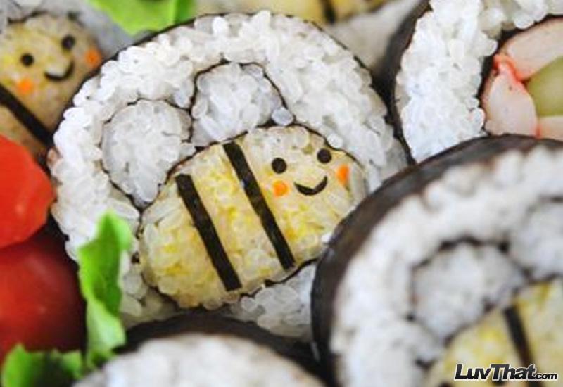cute bees sushi art