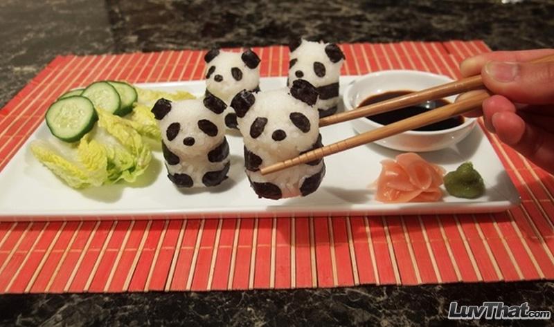cute panda bears sushi art