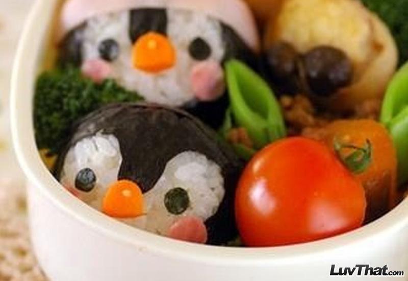cute penguins sushi art