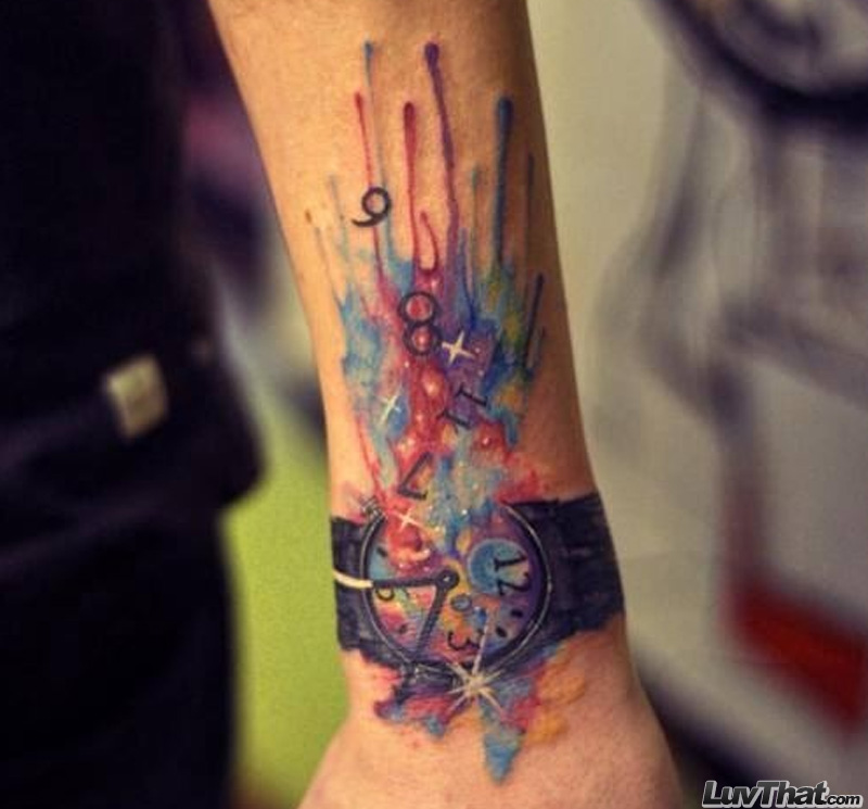 exploding watch wrist tattoo