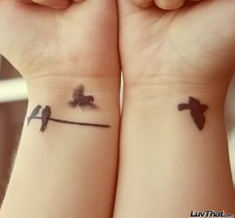 four birds wrist tattoo