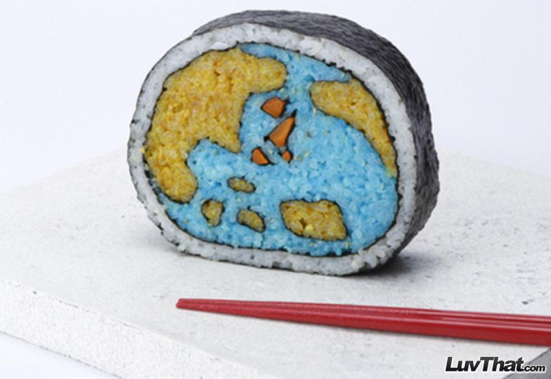 globe map sushi art