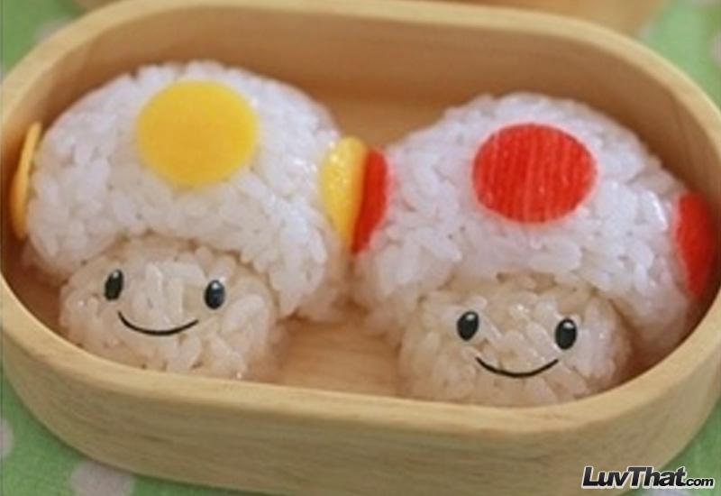 nintendo mushrooms sushi art