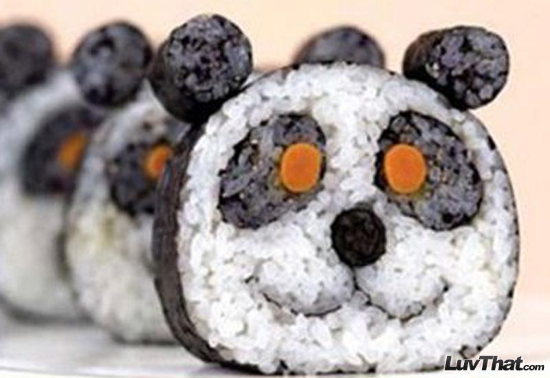 panda faces cute sushi art
