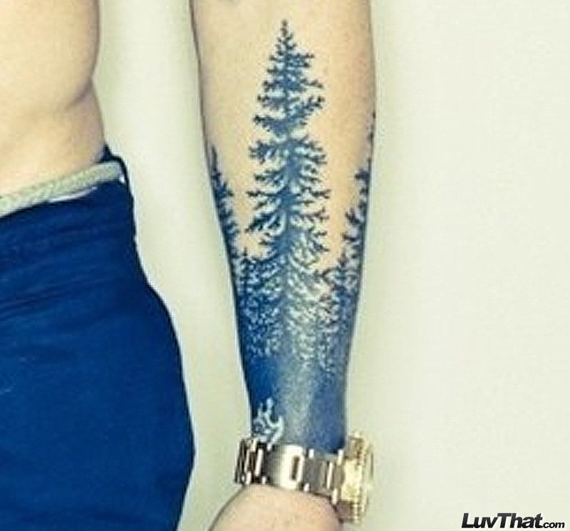 pine forest wrist tattoo sleeve