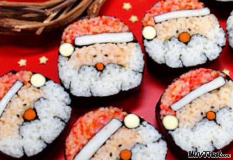 santa clause sushi art