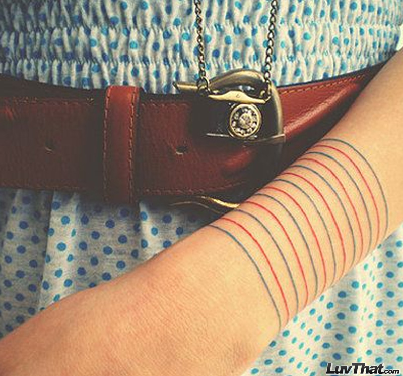 stripes bracelet wrist tattoo