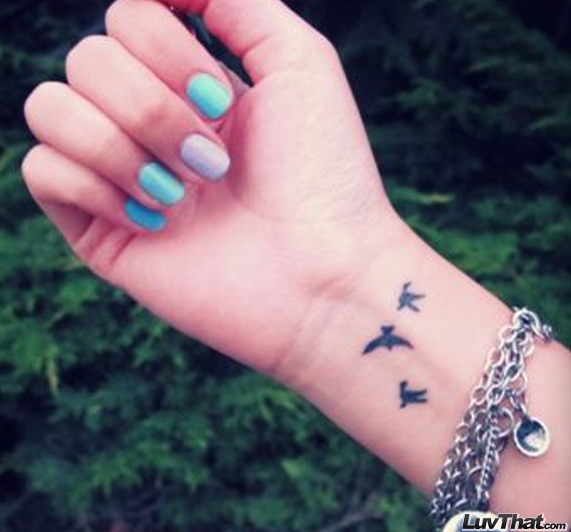 three birds wrist tattoo