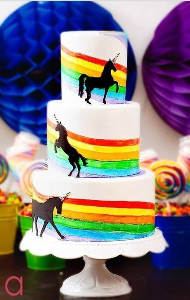 three level unicorn raimbow cake