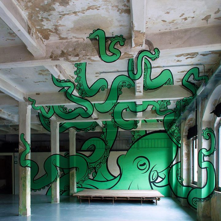 Giant green octopus art graffiti