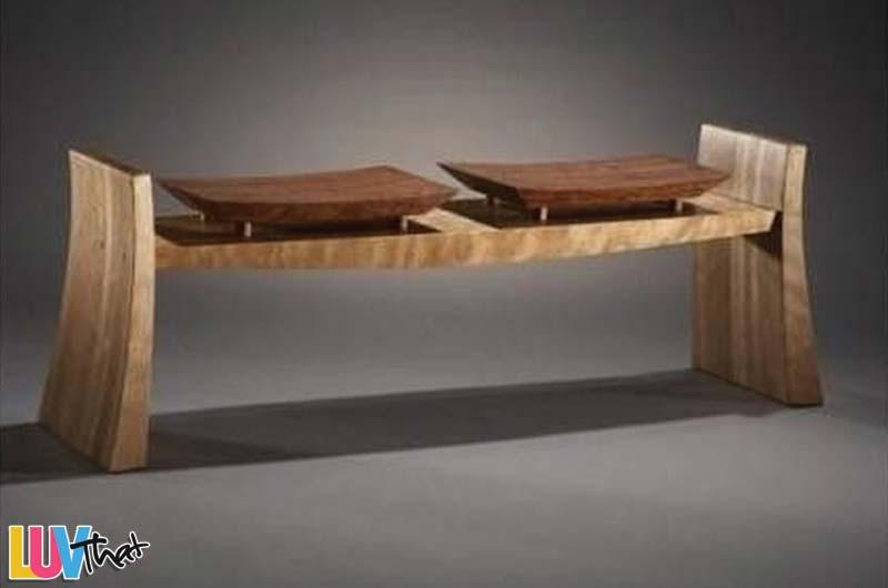 2 seat wood bench