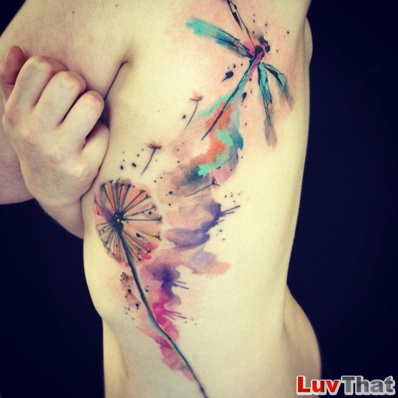 huge dandelion and dragonfly watercolor tattoo