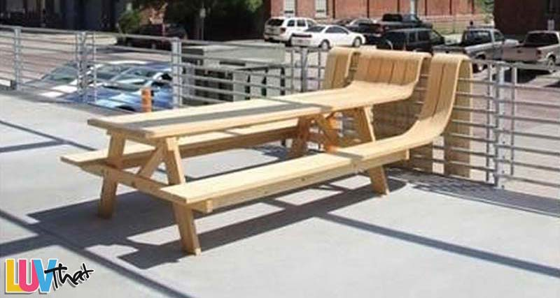 picnic table with fun wood edge
