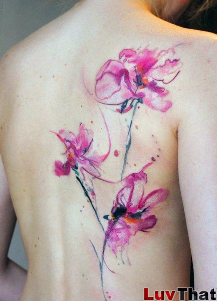 pink watercolor back tattoo flowers
