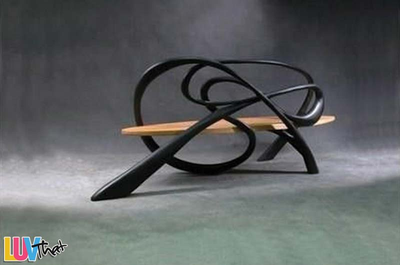 scuptural wood bench