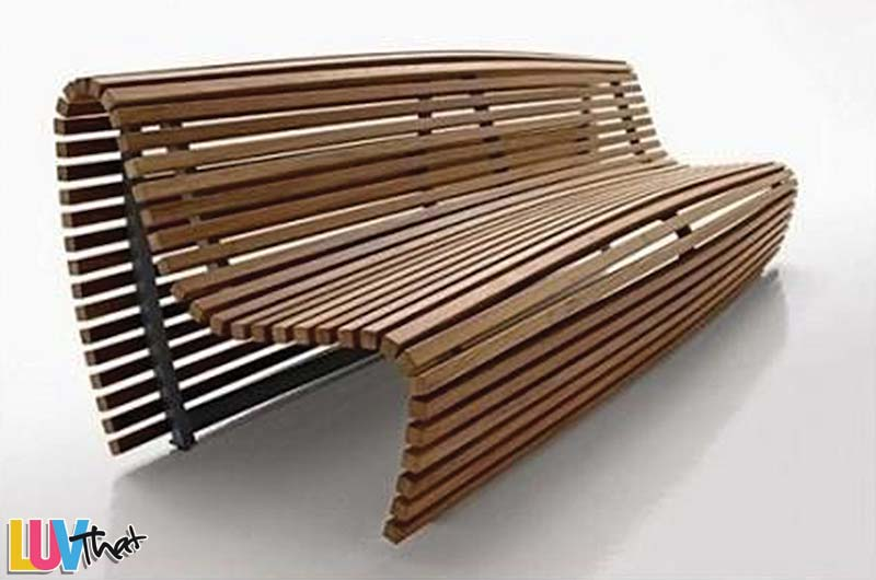 simple wood slats bench with a gentle curve