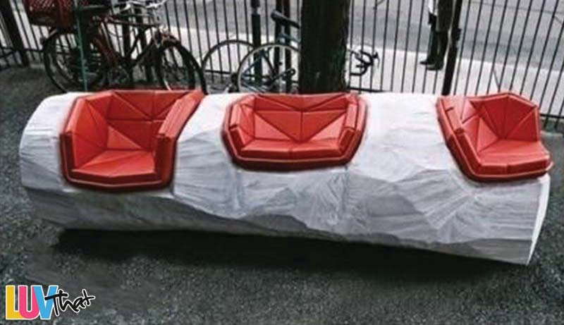 three seat bench modern styled sculpture