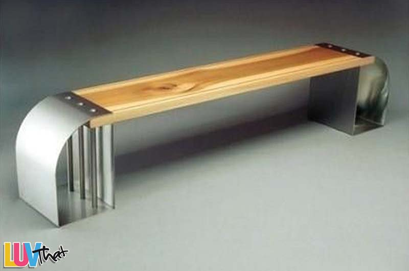 wood plank and metal bench