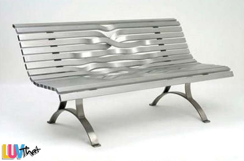 woven metal slats bench
