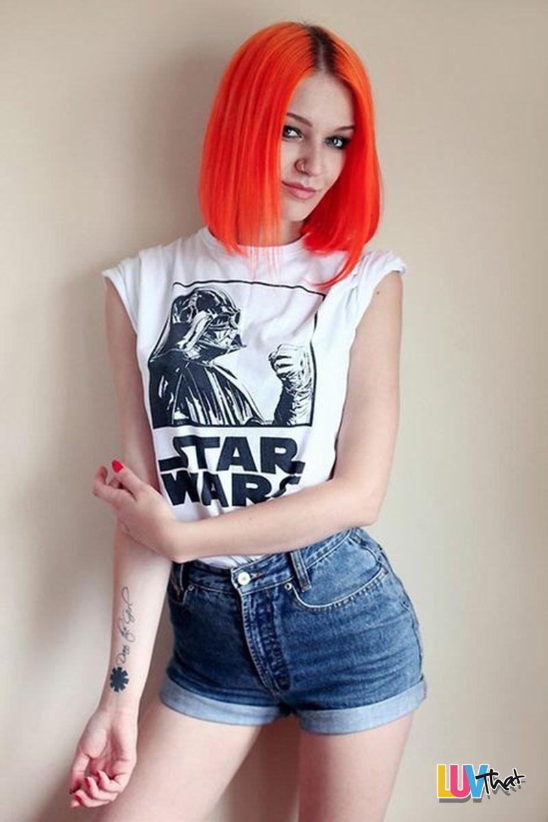 cute starwars tshirt and orange hair