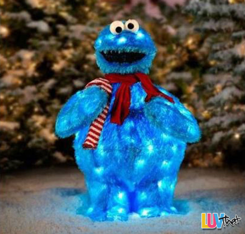 outdoor light up holiday cookie monster - Outdoor Light Up Christmas Decorations