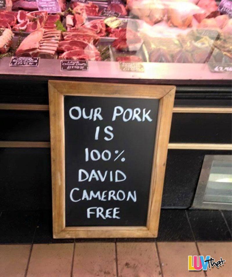 pork is 100 percent david cameron free