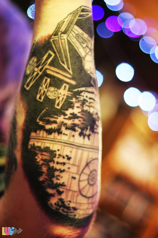 tie fighters and death star starwars tattoo