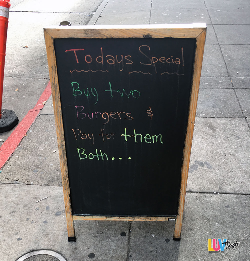 todays special buy two at twice the price