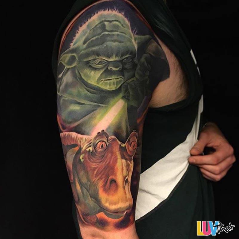 yoda and jar-jar sleve tattoo