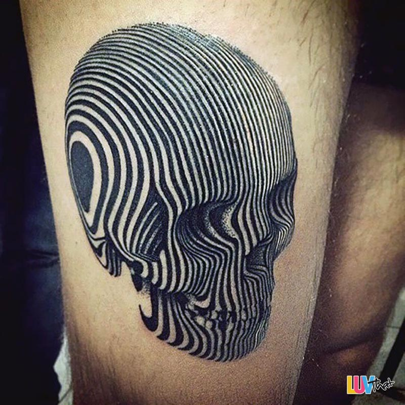 trippy skull lines tattoo
