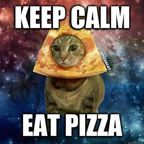 keep calm and cat pizza