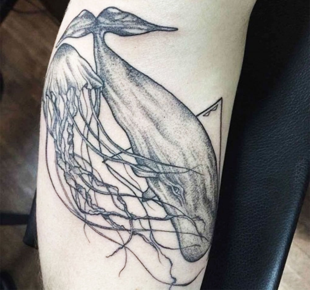 black ink jellyfish and whale tattoo