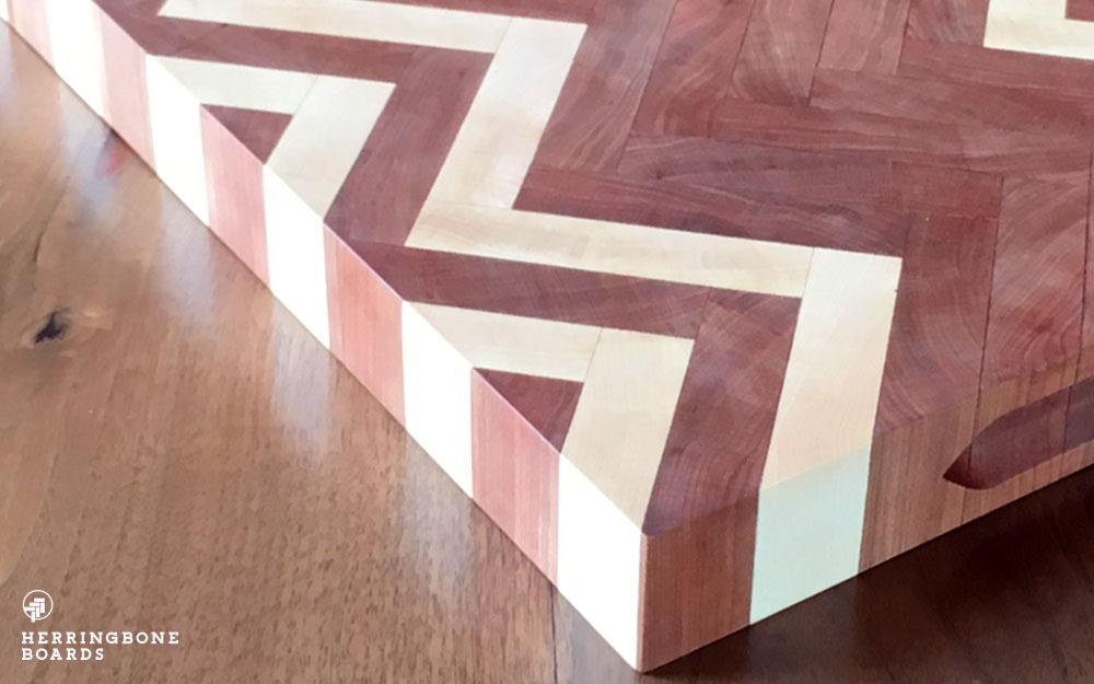 cherry and maple herringbone cutting boards