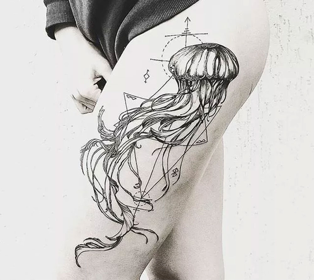 geometric style jellyfish tattoo