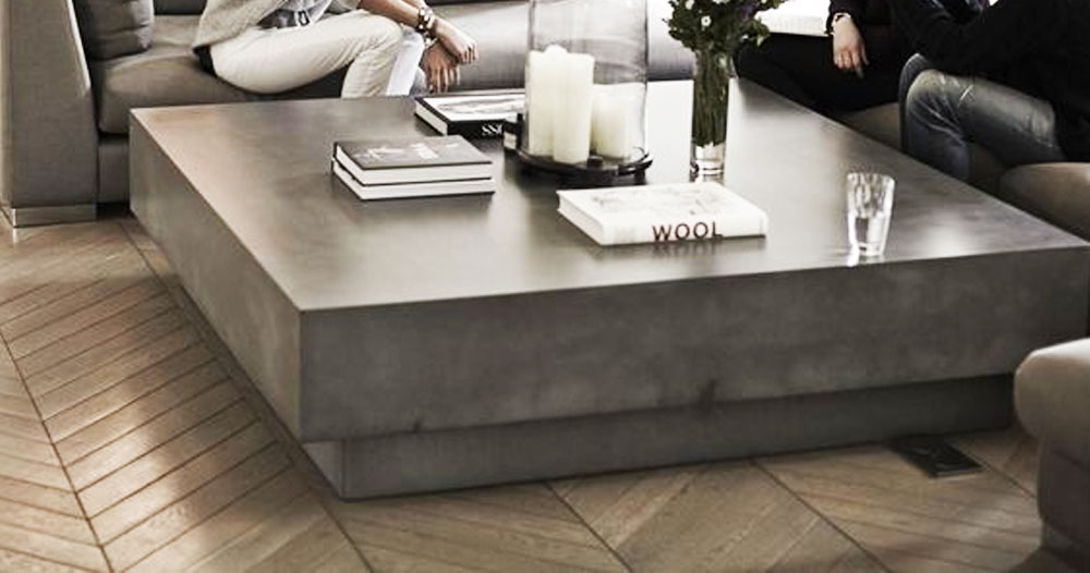 large concrete block coffee table