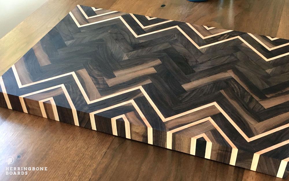 walnut herringbone boards butcher block